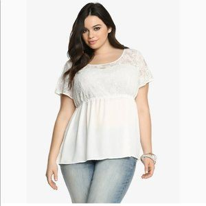 Torrid white georgette lace baby doll top